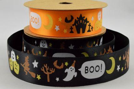 25mm Halloween Ghost Boo Pumpkin Printed Satin Ribbon x 10 Metre Rolls!!