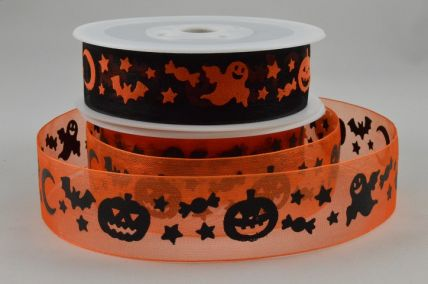 25mm Halloween Sheer Organza Ghost/Pumpkin Ribbon x 20 Metre Rolls!!