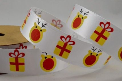 25mm Reindeer & Presents White Printed Satin Ribbon x 10 Metre Rolls!