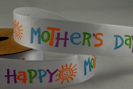 55048 - 25mm Happy Mothers Day Ribbon x 10 Metre Rolls!