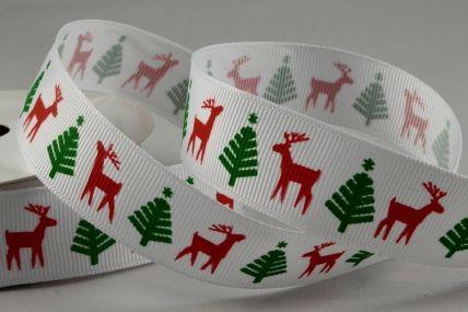 22mm White Christmas Printed Grosgrain Ribbon x 10 Metre Rolls!