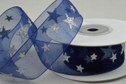 25mm Navy Blue Sheer Printed Glitter Star Ribbon x 10 Metre Rolls!