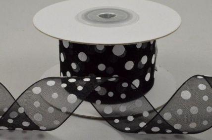 25mm Black Organza Polka Dot Ribbon x 10 Metre Rolls!