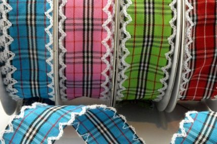 25mm Fancy Check Ribbon with Scallop Edge x 10 Metre Rolls!