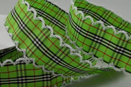25mm Green Fancy Check Ribbon with Scallop Edge x 10 Metre Rolls!