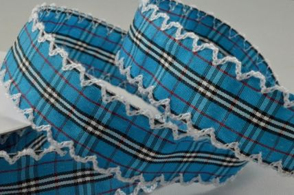 25mm Blue Fancy Check Ribbon with Scallop Edge x 10 Metre Rolls!