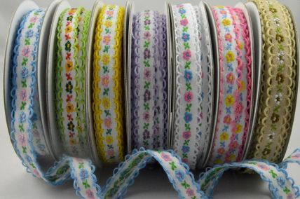 12mm Flower Woven Ribbon with Scallop Edge x 10 Metre Rolls!