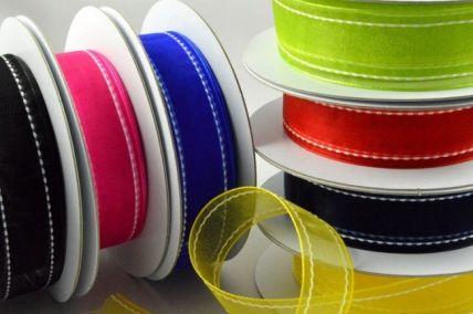 22mm Coloured Side-Stitch Organza Ribbon x 20 Metre Rolls!