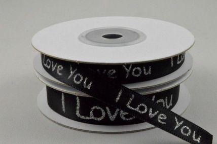 9mm & 15mm Black I love You Satin Printed Ribbon x 10 Metre Rolls!