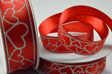 15mm Red Double Satin with Printed Hearts x 10 Metre Rolls!