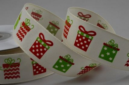 25mm Cream Christmas Presents x 10 Metre Rolls!