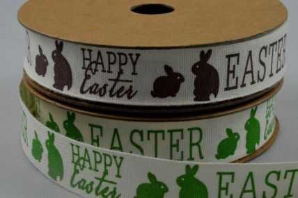 15mm Happy Easter Ribbon with Bunnies x 10 Metre Rolls!