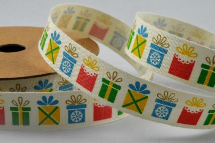 15mm Cotton Printed Colourful Presents Ribbon x 10 Metre Rolls!