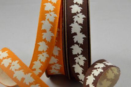 15mm Cotton Autumn Leaf Printed Ribbon x 10 Metre Rolls!