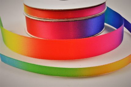 6mm & 15mm Rainbow Double Satin Ribbon x 10 Metre Rolls!