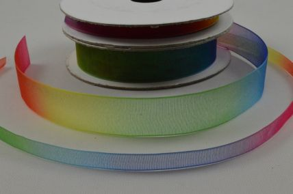 6mm & 15mm Rainbow Sheer Organza Ribbon x 10 Metre Rolls!