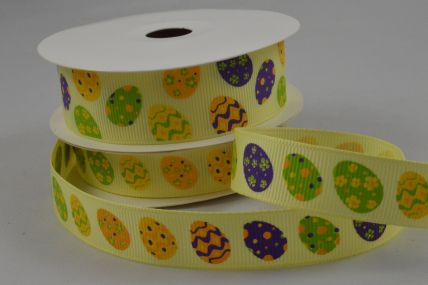 15mm & 25mm Yellow Grosgrain Easter egg Ribbon x 10 Metre Rolls!