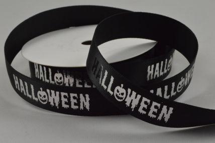 55083 - 15mm Black Halloween Printed Ribbon x 10 Metre Rolls!