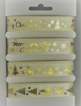 Cream Merry Christmas Selection Pack : 4 x 2 Metre Lengths