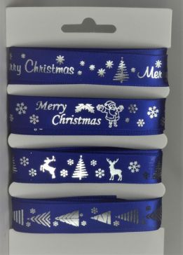 55086 - Blue Merry Christmas Selection Pack : 4 x 2 Metre Lengths