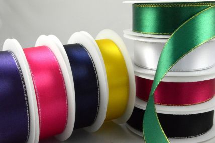 3mm, 10mm, 15mm & 25mm Single Satin Ribbon with Lurex Edge!
