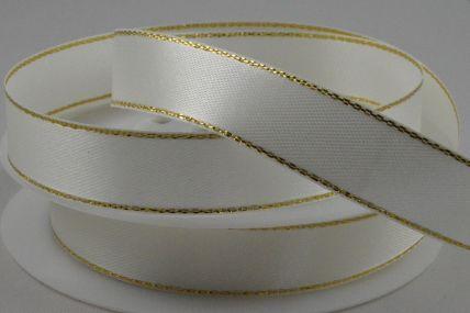 3mm, 10mm, 15mm & 25mm Cream Single Satin Ribbon with Lurex Edge!