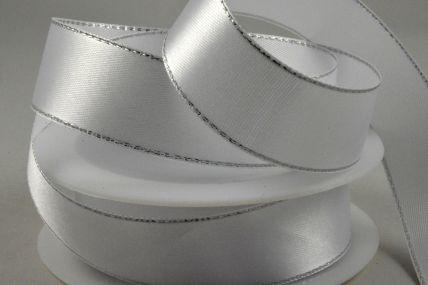 10mm White Single Satin Ribbon with Lurex Edge!