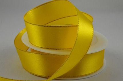 3mm Yellow Single Satin Ribbon with Lurex Edge x 50 Metre Rolls!