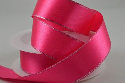 3mm, 10mm, 15mm & 25mm Fuschia Single Satin Ribbon with Lurex Edge x 25/50 Metre Rolls!