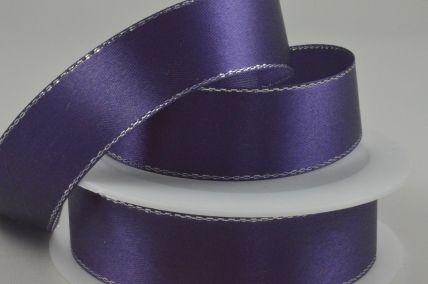 25mm Purple Single Satin Ribbon with Lurex Edge x 25 Metre Rolls!
