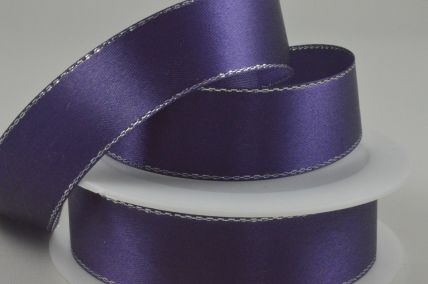 10mm Cadbury Purple Single Satin Ribbon with Lurex Edge x 25 Metre Rolls!
