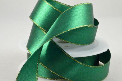 3mm, 10mm, 15mm & 25mm Emerald Green Single Satin Ribbon with Lurex Edge