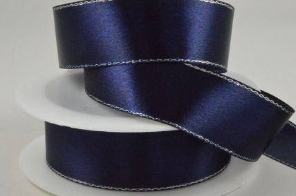 3mm, 10mm, 15mm & 25mm Navy Blue Single Satin Ribbon with Lurex Edge!