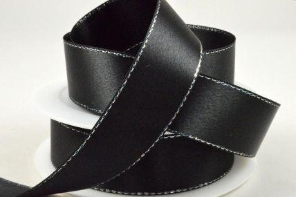 3mm, 10mm, 15mm & 25mm Black Single Satin Ribbon with Lurex Edge x 25/50 Metre Rolls!