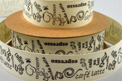 55088 - 20mm Coffee Themed Cotton Printed Ribbon x 10 Metre Rolls!