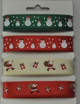 Red, Green & Cream Merry Christmas Selection Pack : 4 x 2 Metre Lengths