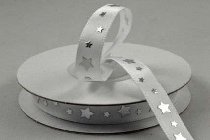 9mm Silver Star Printed Satin Ribbon x 10 Metre Rolls!