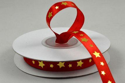 9mm Red Star Printed Satin Ribbon x 10 Metre Rolls!