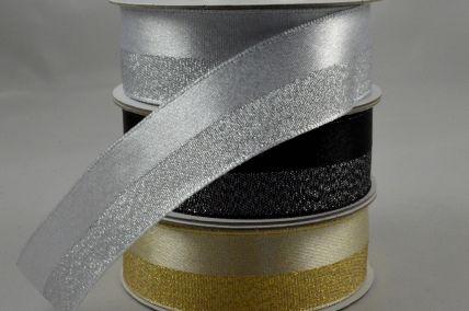 25mm 50/50 Lurex Woven Ribbon x 10 Metre Rolls!