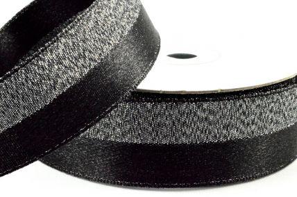 25mm Black 50/50 Lurex Woven Ribbon x 10 Metre Rolls!