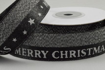 25mm Black Lurex Woven Merry Christmas Ribbon x 10 Metre Rolls!