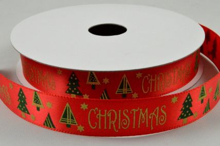 16mm Red Christmas Satin Printed Ribbon x 10 Metre Rolls!