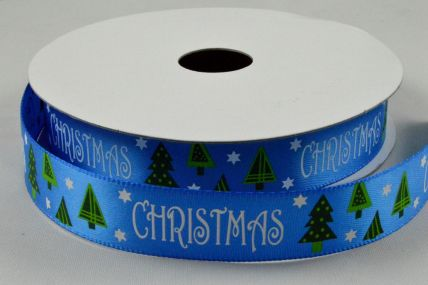 16mm Blue Christmas Satin Printed Ribbon x 10 Metre Rolls!