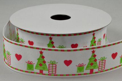 25mm White & Green Christmas Grosgrain Ribbon x 10 Metre Rolls!