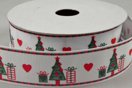 25mm White & Dark Green Christmas Grosgrain Ribbon x 10 Metre Rolls!