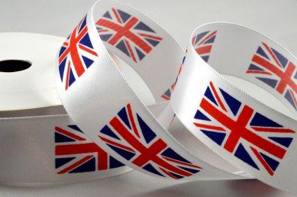 25mm White Single Satin Great Britain Flag Ribbon x 10 Metre Rolls!