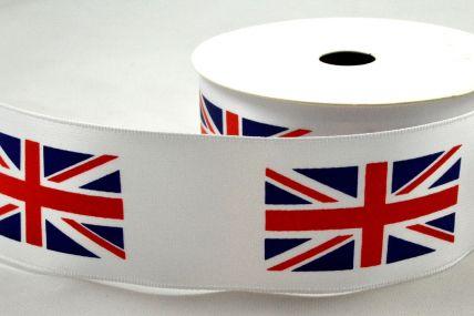 38mm White Single Satin Great Britain Flag Ribbon x 10 Metre Rolls!
