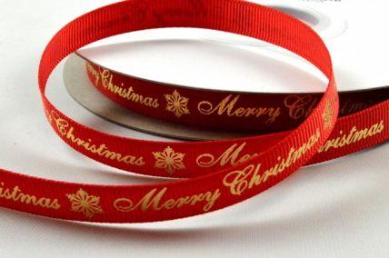 9mm Red Merry Christmas & Snowflake Grosgrain Ribbon x 20 Metre Rolls!