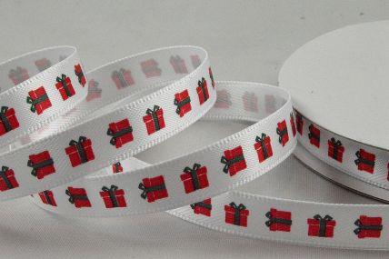 55100 - 10mm White Satin Present Printed Ribbon x 10 Metre Rolls!