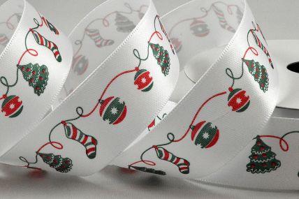 55101 - 25mm White Satin Christmas Bauble Ribbon x 10 Metre Rolls!